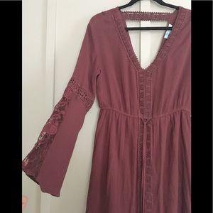 Beautiful V-neck Maroon Lace Grecian V neck Dress